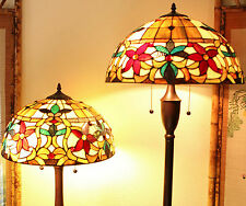 """Tiffany Style Stained Glass Floral Table and Floor Lamp Set 2 Light 18"""" Shade"""