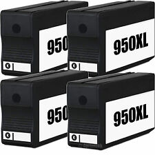4 Pack 950XL 950 Black Ink Cartridge Fits HP Officejet 8100 8600 Plus