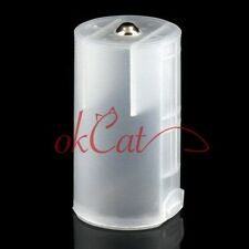 Translucent 2 AA to D Cell Battery Adaptor Holder Case