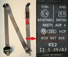 VW Polo Cintura Guidatori Laterale Posteriore 2002-05 Mk6 Grigio 9N 6Q0 857 806