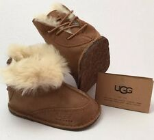 UGG Australia Baby BOO Suede Sheepskin Lined booties Small Chestnut New With Tag