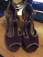 Nine West Burgundy Platform Wedge Shoes Uk 5 Used