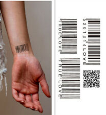 BarCode waterproof temporary tattoo sticker body art/Couple Tattoo