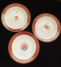 3 pcs Chinese Longevity Porcelain Dinner Plate In Red / Gold Foil (#CH6-3B)