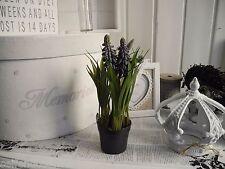 Casserole Fleur de printemps Jacinthe artificielle Autruche Plantes shabby chic