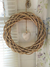 Natural Round Wicker Wreath with White Wooden heart detail 40 x 40 cm