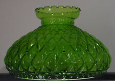 "NEW 10"" Green Oil Kerosene Glass Diamond Quilted Student Lamp Shade fits Aladdin"