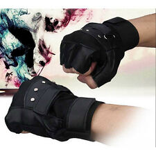Men Gloves Soft Sheep Leather Driving Motorcycle Biker Fingerless Warm Gloves OK