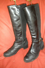 WONDERS BLACK LEATHER KNEE HIGH RIDING BOOTS UK 7 EUR 41