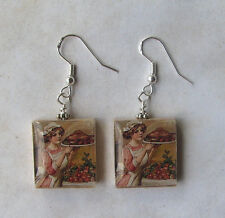 Thanksgiving Earrings Turkey Dinner Vintage Altered Art Scrabble Charm