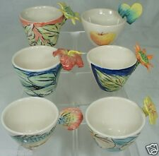 ART POTTERY CUP/ MUG HEART,SUNFLOWER,FISH,PANCY,LILY FLOWER HANDLE SET 6 SIGNED