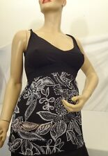 New PAPILLON BLANC Black & White Floral TANK TOP BLOUSE Size Small NWT $100