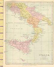 C1890 Vittoriano mappa ~ ITALIA SUD ~ Sicilia Puglia