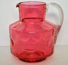 Beautiful CRANBERRY ART GLASS PITCHER w/Applied clear glass ribbed handle