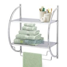 Modern Chrome 2 Tier Wall Mounted Bathroom Shelf Unit Rack With Towel Rails