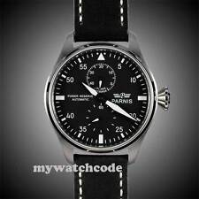 parnis black dial big pilot power reserve seagull 2542 automatic mens watch 159