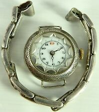 Antique Swiss silver wristwatch, silver expanding bracelet Not In Working Order