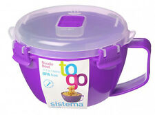 Sistema Purple Klip It Microwave Noodle Pasta Soup Bowl 940ml Lunch BPA Free