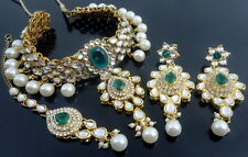 GREEN KUNDAN CZ PEARL GOLD TONE INDIAN TRADITIONAL CHOKER NECKLACE SET JEWELRY