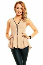 Ladies Peplum Tunic top Fit and Flare Evening Casual Short Sleeve Size 6 8 10