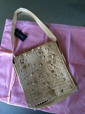 Francesco Biasia Tan Woven Italian Leather Shoulder Bag Purse