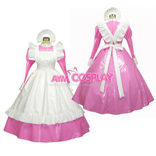 Special offer-Sissy maid PVC dress pink lockable Uniform cosplay costume[G257]