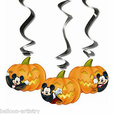 3 Halloween Disney Mickey Mouse Party Hanging Cutout Pumpkin Swirls Decorations