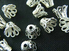 New 150pcs Silver Plated Metal Flower Bead Caps 6mm For Jewelry