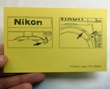 Nikon F2A lock  Ai indexing camera owner note vintage 78.1.JO &4