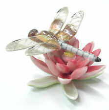 R238 - Northern Rose  Miniature - Dragonfly on Pink Water Lily