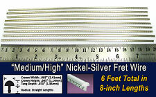 6 feet of Medium/High Nickel-Silver Fret Wire/Frets for Guitar & More! 10-15-01