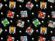 "16"" REMNANT MARVEL KAWAII AVENGER CHARACTERS SUPERHEROS BADGE 100% COTTON FABRIC"