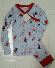 NWT Hanna Andersson Light Blue Red ICE SKATERS Pajamas Long Johns 3T 90 2 3