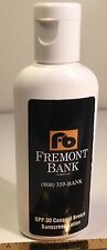 FREMONT BANK SUNSCREEN BOTTLE NORTHERN CALIFORNIA BANK ADVERTISING COLLECTIBLE