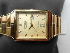 New Citizen Gold Steel Day Date Rectangle Golden Dial Men Quartz WristWatch #24