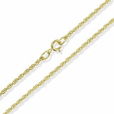 "375 9CT YELLOW SOLID GOLD 16"" ENGLISH ROPE CHAIN PRINCE OF WALES CHOKER NECKLACE"