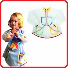 KIDS CHILDREN'S TRANSPARENT SMOCK APRON-WATERPROOF-CRAFT-COOKING-COSTUME-PAINT
