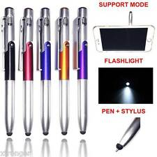 5X 4-in-1 Foldable Ballpoint Pen Stylus (Flashlight + Support) For Tablet phone
