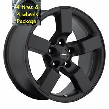 "4) 20"" Ford Lightning Tires Wheels Rims Package Flat Black Set Fit 97 - 04 F150"