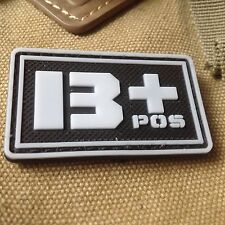 GLOWING  Military Blood Type B+ Positive Tactical Army 3D PVC Patch