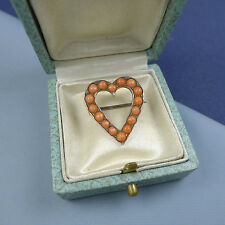 Cute Victorian Sterling Silver and Coral Heart Brooch With Box/ Valentine's Day