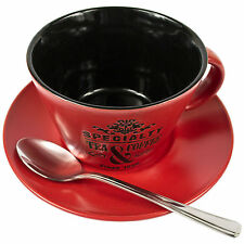 Set Of 8 Speciality Red Tea Cups & Saucers With Teaspoons Coffee Cappuccino Mugs