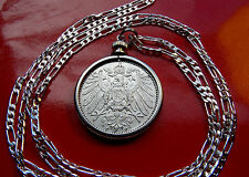 ".900 SILVER  GERMAN EAGLE PRUSSIAN MARK PENDANT 30"" 925 Sterling Silver Chain"