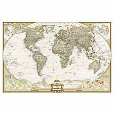 "WORLD Wall Map Art Print Executive National Geographic - 46""x30"" LAMINATED"