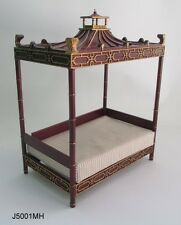 DOLLHOUSE MINIATURE - Qing Dynasty Chinese Day Bed Mahogany Finish 1:12 scale