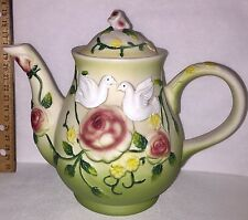 "HAND PAINTED 7"" Tall CERAMIC TEA POT - 3-D ""DOVES & ROSES""  Beautiful - No Tax"