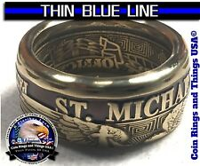 St Michael Thin Blue Line Police Officer Law Enforcement LEO Challenge Ring