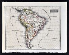 c 1850 Franz Biller Map South America Brazil Argentina Chile Peru Rio de Janiero