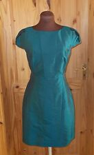 WAREHOUSE kingfisher blue-green teal SILK short sleeve tea party dress 12 40