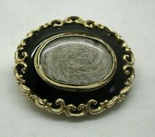 Fantastic Early Antique 15ct Gold And Black Onyx Mourning Locket Brooch